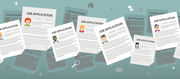 cartoon of several job applications
